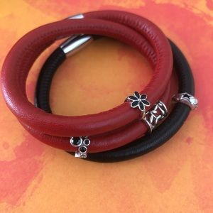 Endless Jewelry red dbl wrap and black single